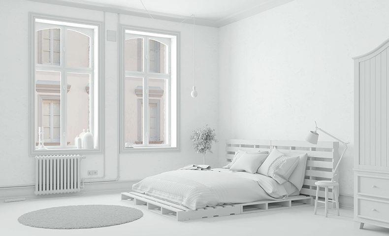 全部白シンプルモダンなホワイトインテリアで部屋をコーディネート