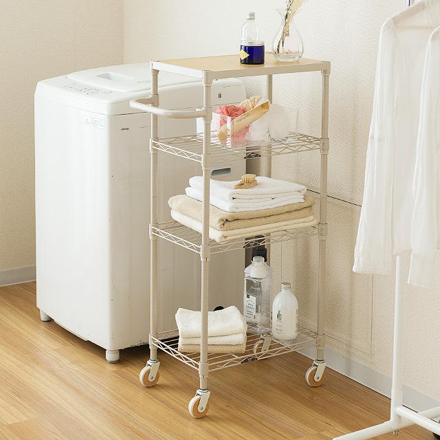 冷蔵庫や食器棚の隙間を活用!キャスター付きキッチンラック